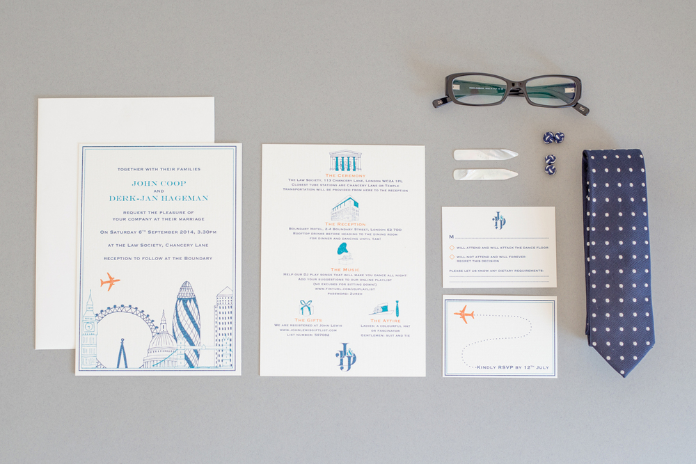 D-J and John's bespoke wedding stationery for their Boundary wedding