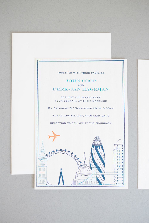 Bespoke wedding stationery, London Wedding, invitations, orange and blue, The Boundary, London skyline, RSVP, same sex wedding