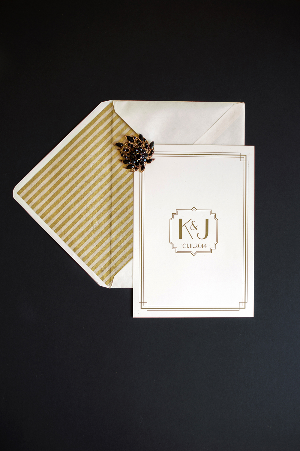 Bespoke wedding stationery, black and gold, art deco, Great Gatsby, Orchardleigh House, invitations, lined envelopes