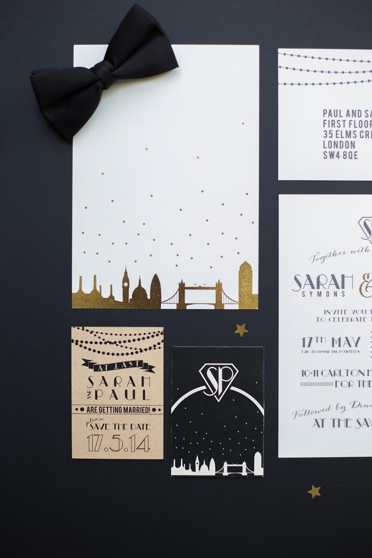 Bespoke wedding stationery, RSVP, Invitation, London skyline, 1920s, Save the Date