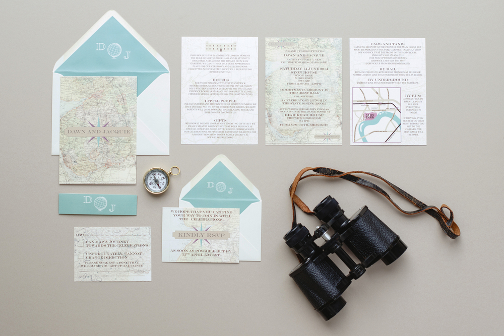 Bespoke wedding stationery, invitations, maps, RSVP card, Syon House, same sex wedding