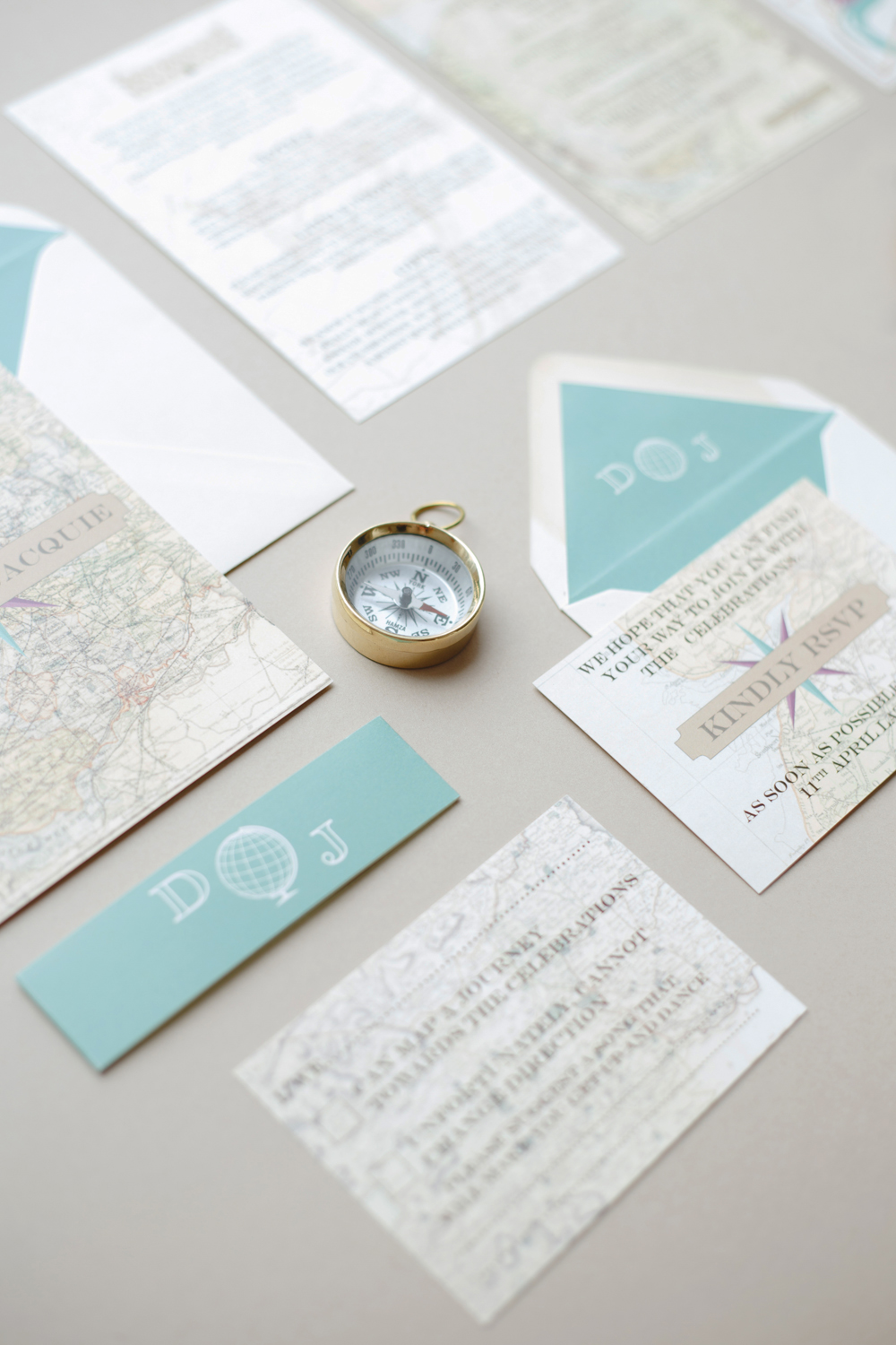 Jacquie and Dawn's bespoke map wedding stationery for their Syon House wedding