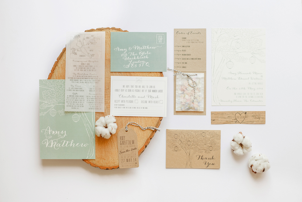 Amy and Matthew's bespoke wedding stationery for their Barnsley House wedding.