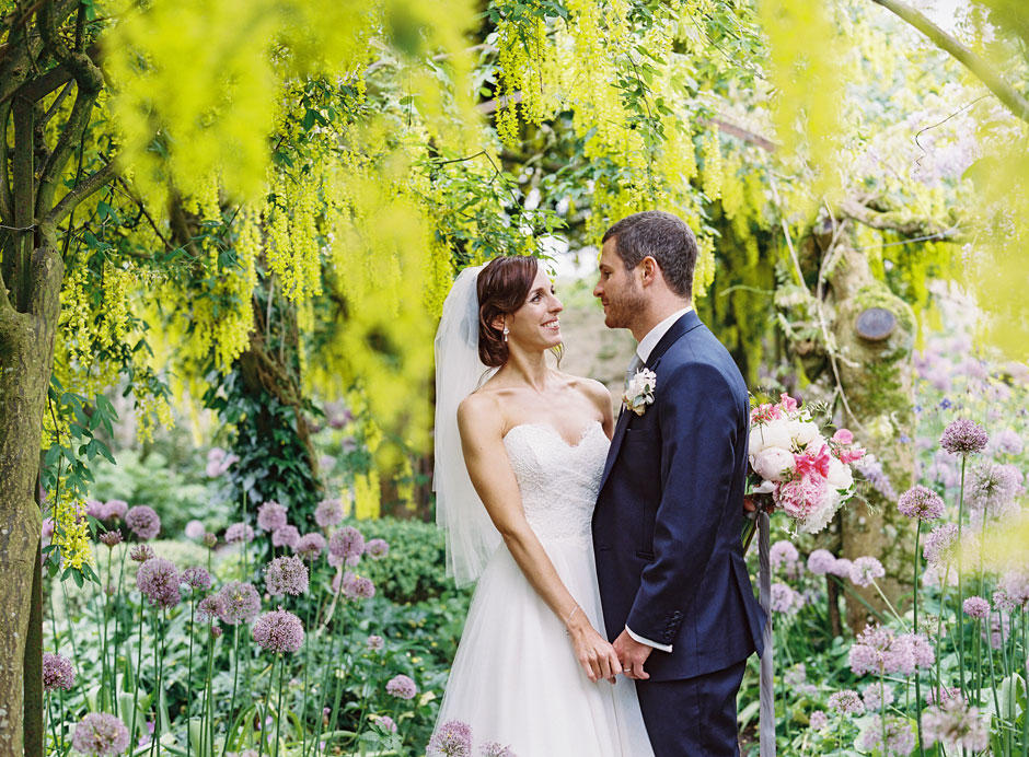 Amy and Matthew on their wedding day at Barnsley House