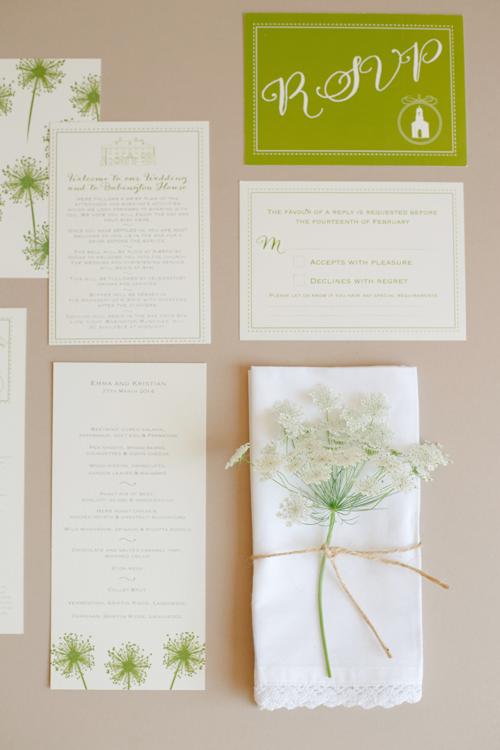Babington House, Bespoke wedding stationery, invitations, RSVP, map, Order of Service, menu, green and white