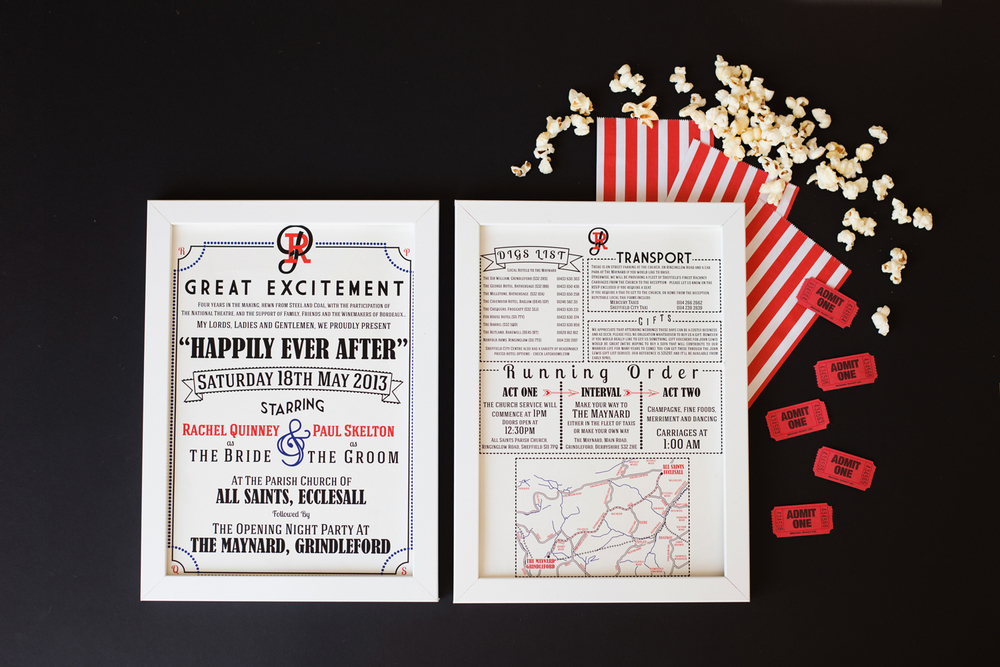 Bespoke invitations, theatre inspired, red and black