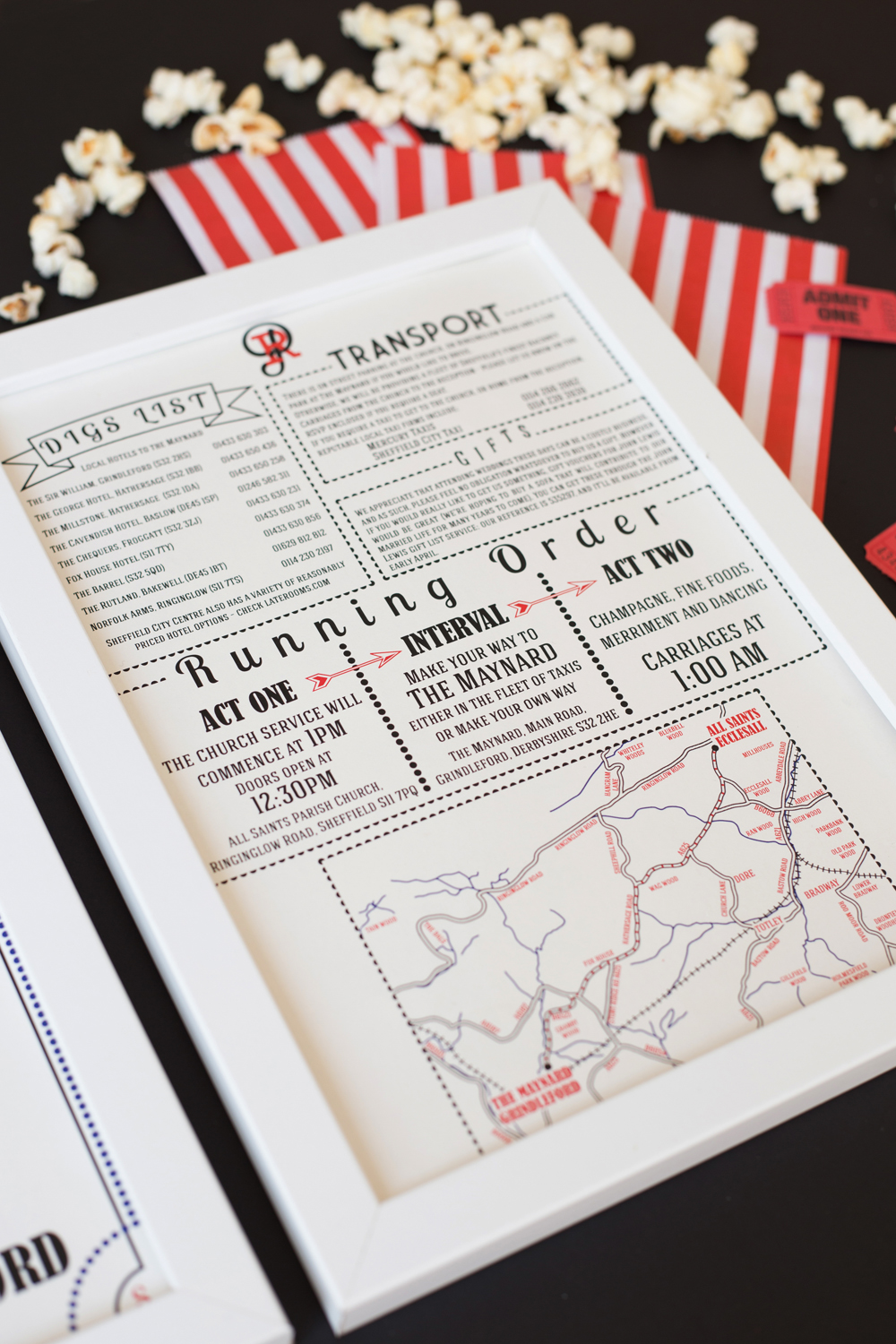 Rachel and Paul's bespoke, playbill inspired wedding invitations