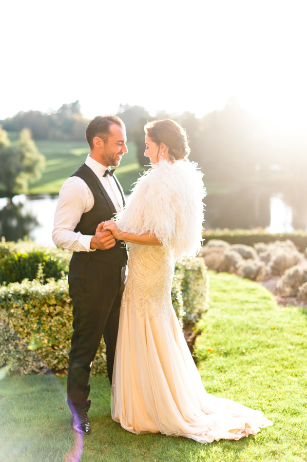 Susannah and Stuart on their wedding day at Brocket Hall
