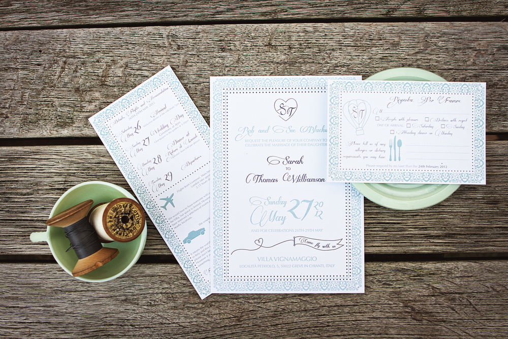 Sarah and Thomas' bespoke, letterpress wedding invitations for their wedding at Villa Vignamaggio in Italy