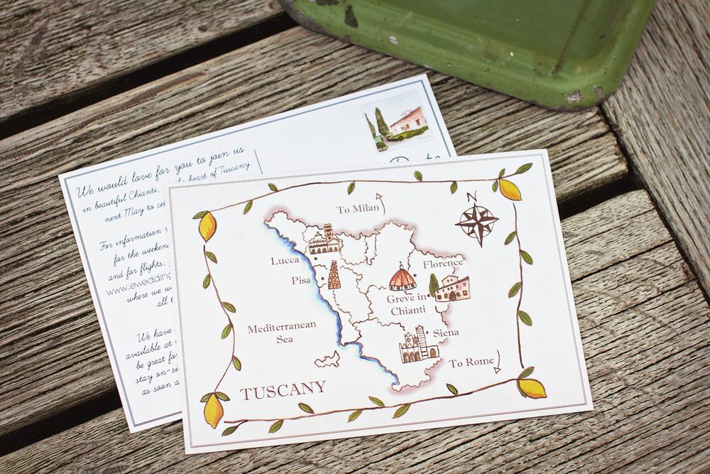 Villa Vignamaggio, Italy, Tuscany, Wedding stationery, Save the Date, map
