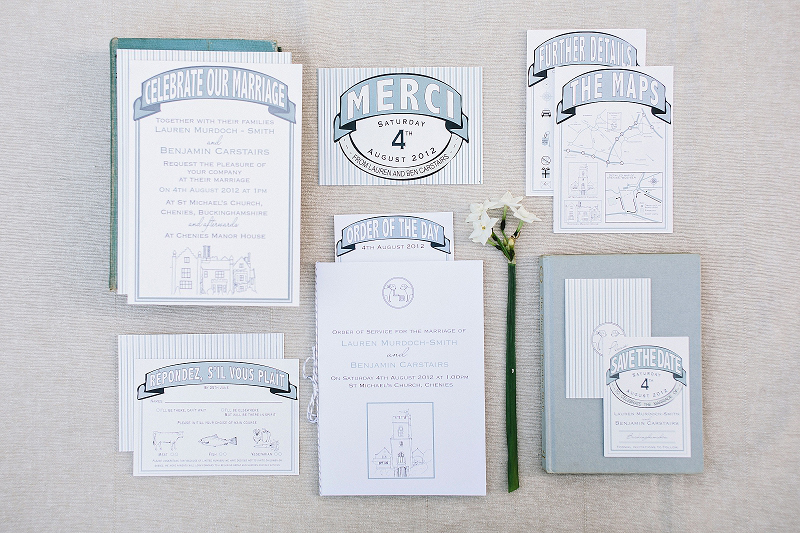 Chenies Manor House, Marmite wedding stationery, duck egg blue, invitation, RSVP, Thank You, Order of Service, Letterpress