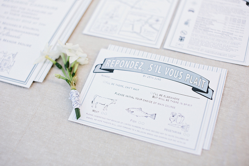 Lauren and Benjamin's bespoke, letterpress wedding stationery for their wedding at Chenies Manor House