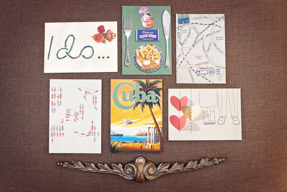London Wedding invitations, eclectic postcards, RSVP