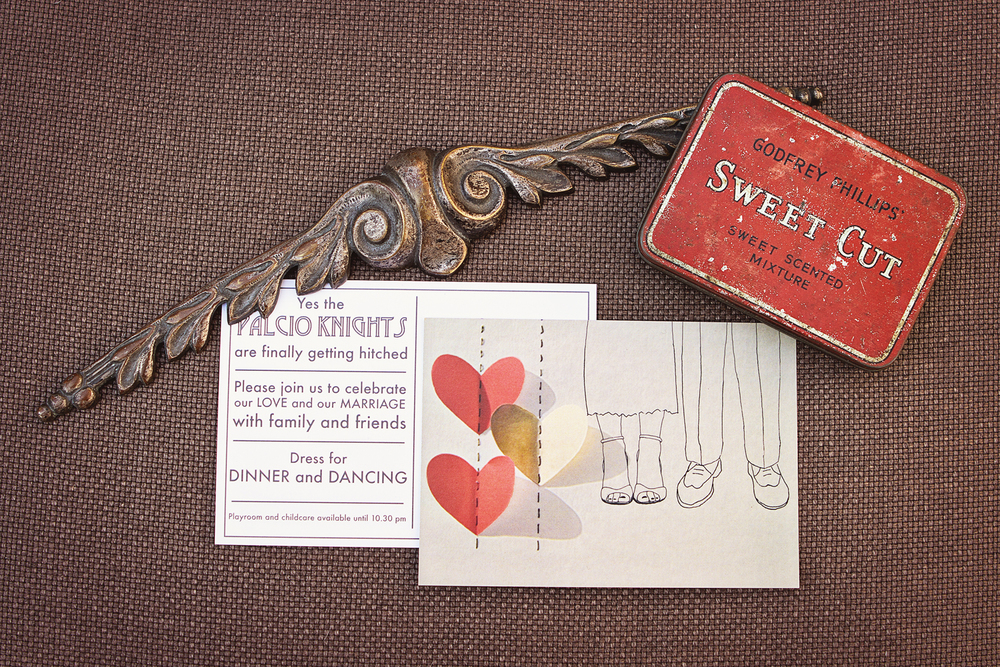 London Wedding invitations, eclectic postcards