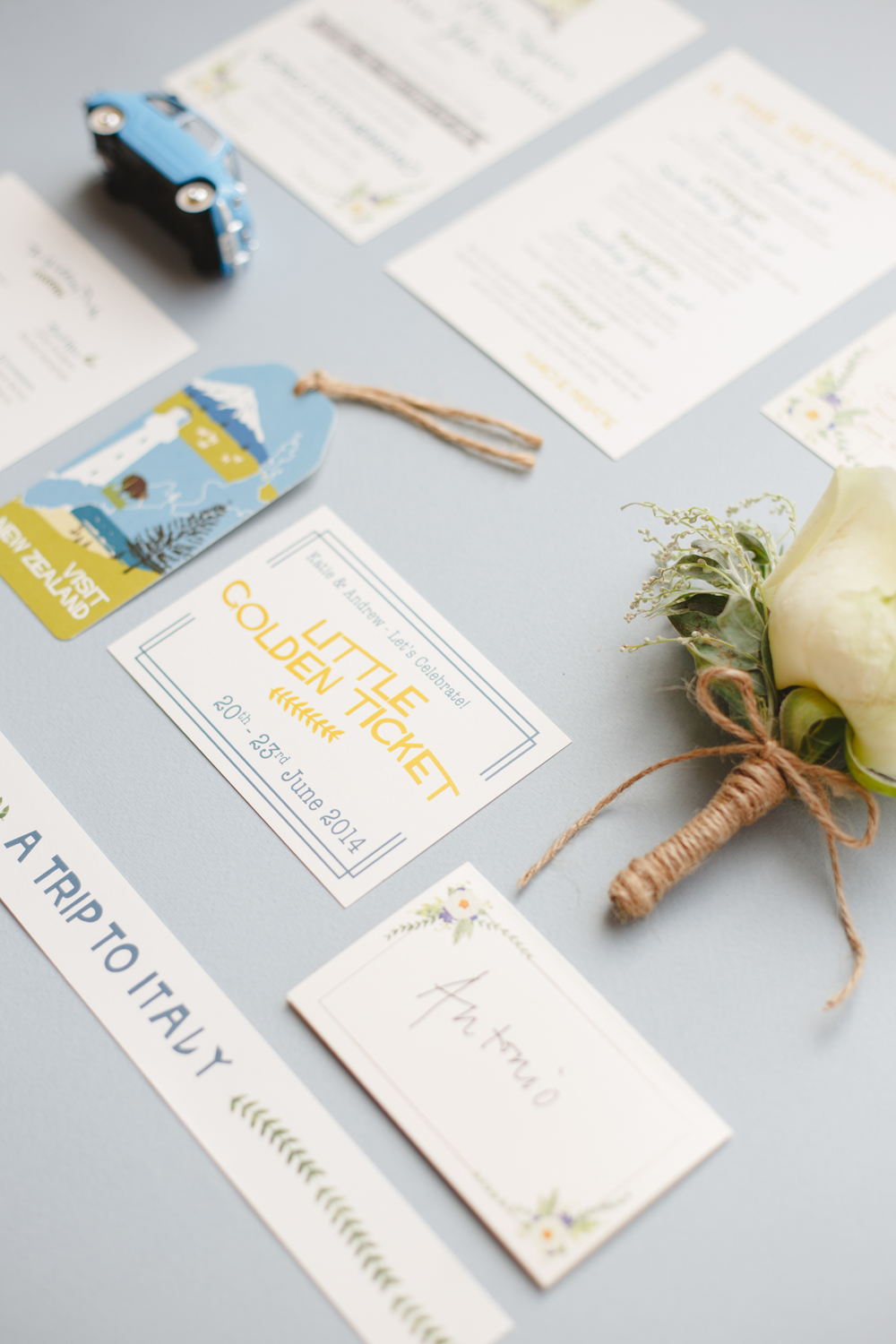 Katie and Andrew's bespoke, watercolour wedding stationery for their weding at Borgo Stomannano, Italy