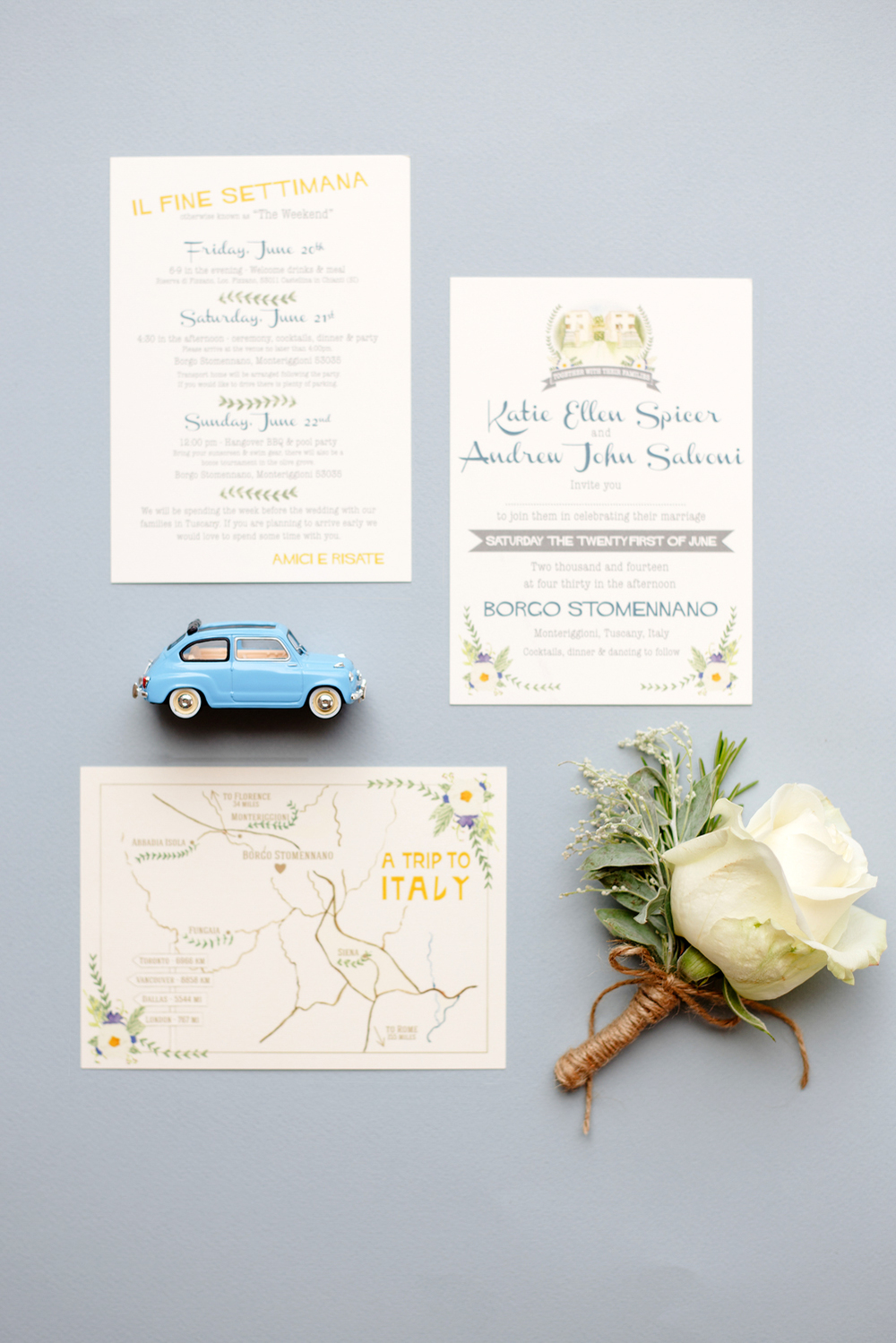 Tuscany, Italy, wedding invitations, Borgo Stomenano, watercolour flowers, map