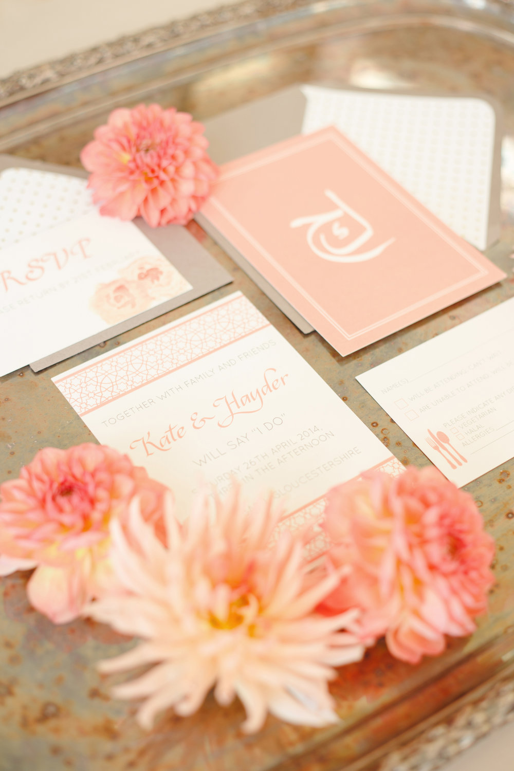 Kate and Hayder's bespoke wedding stationery for their Cripps Barn wedding
