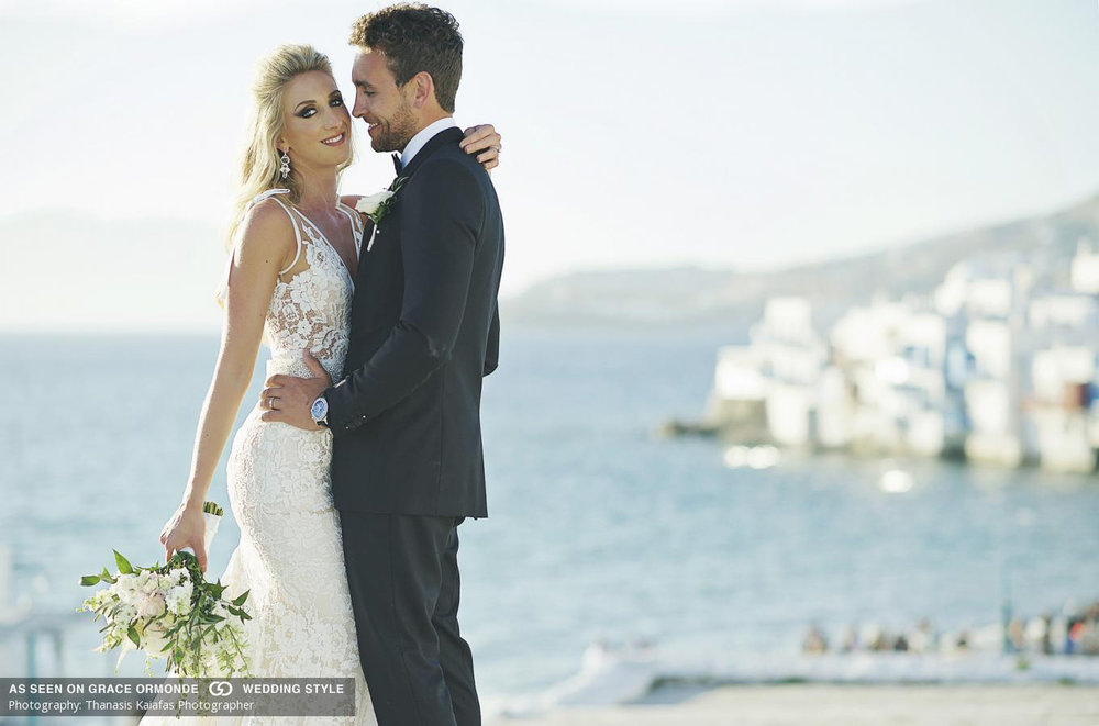 Kara and Anthony on their wedding day in Mykonos