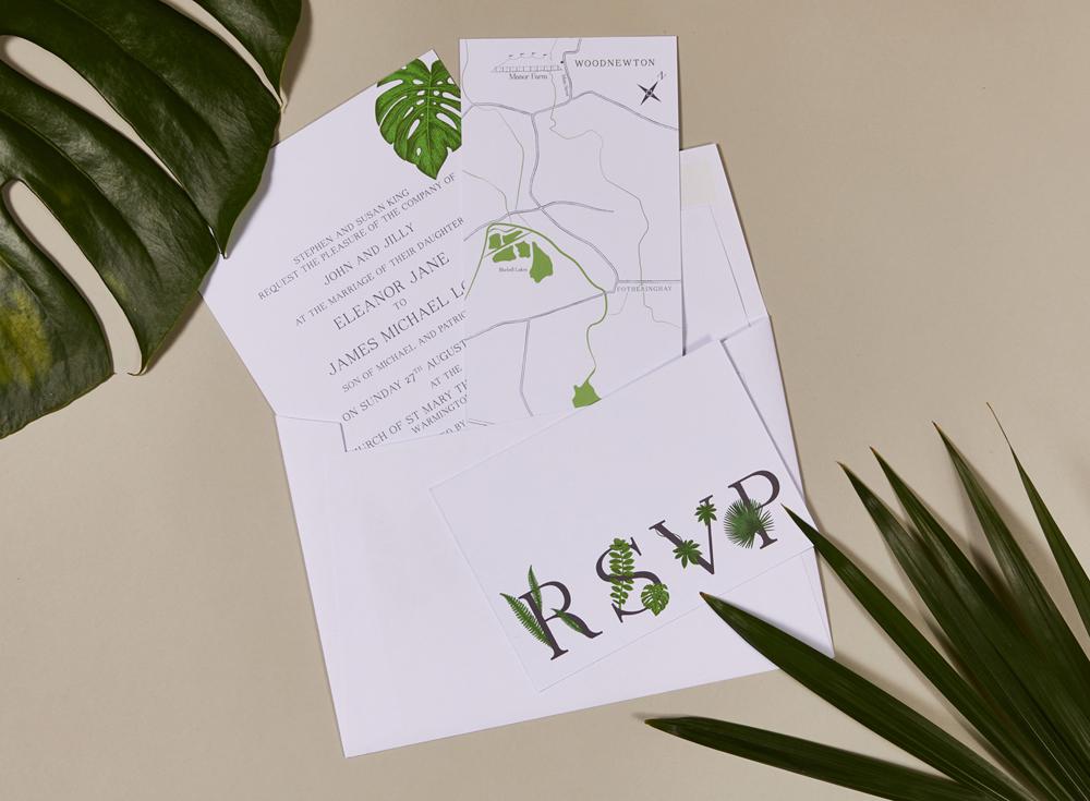 Ellie and James' bespoke wedding invitations