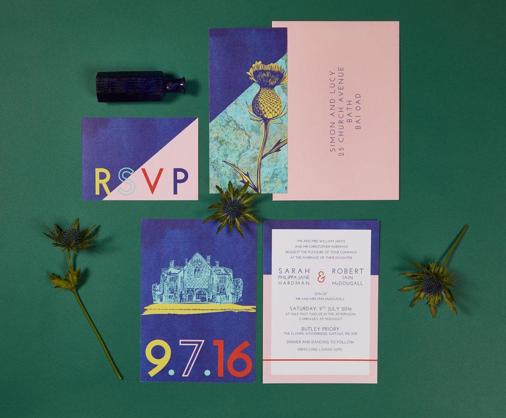 Sarah and Rob's bespoke wedding invitation suite