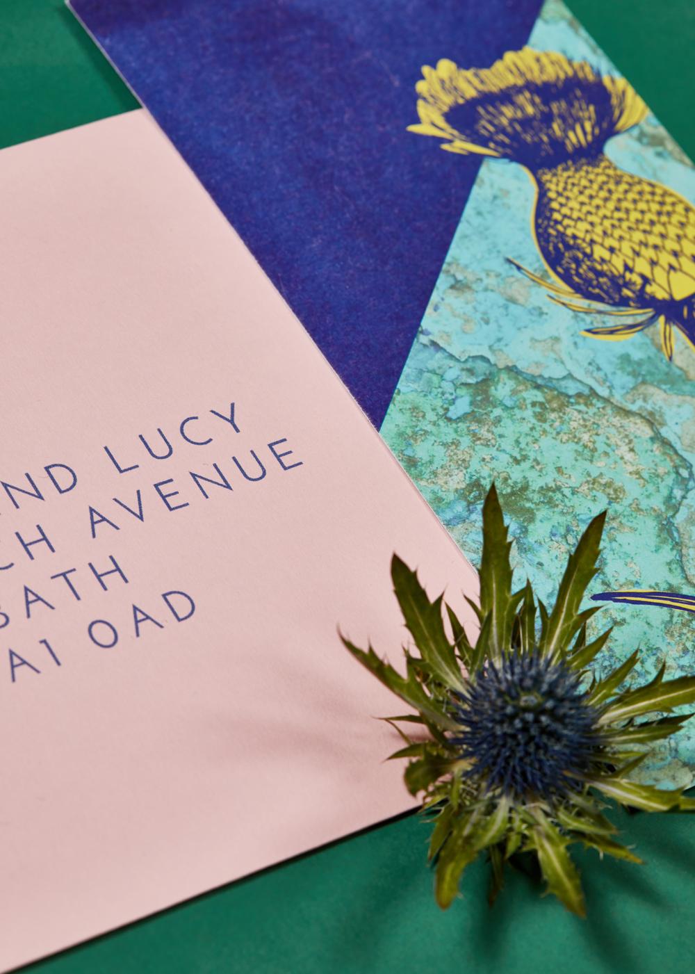 Sarah and Rob's bespoke wedding invitations
