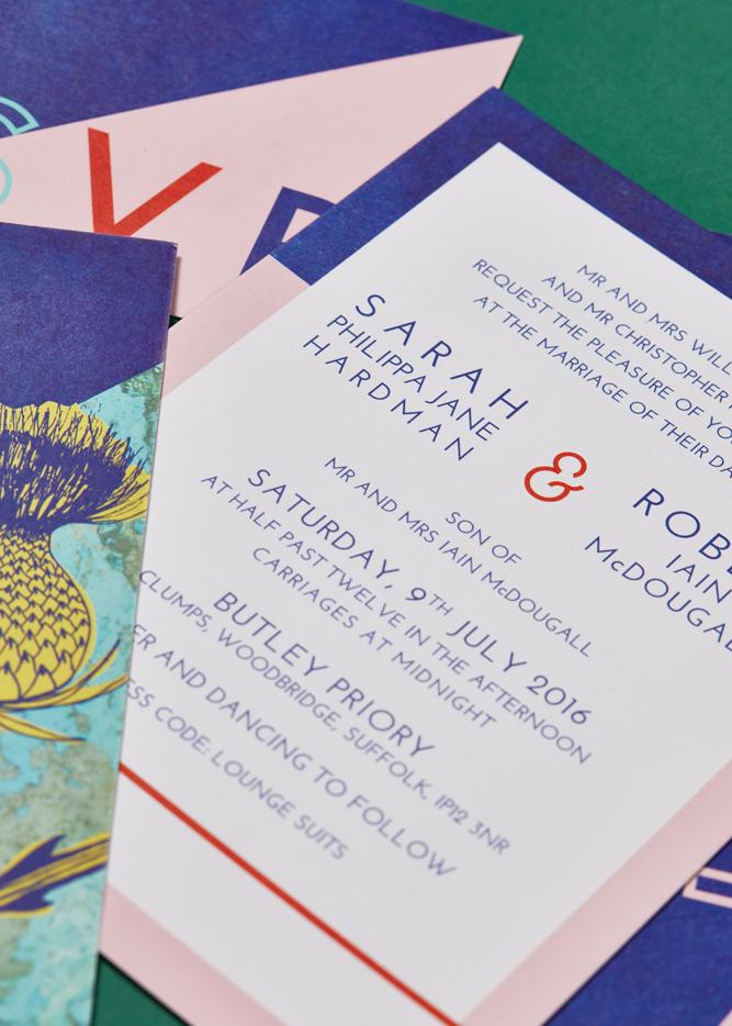 Sarah and Rob's bespoke wedding invitation