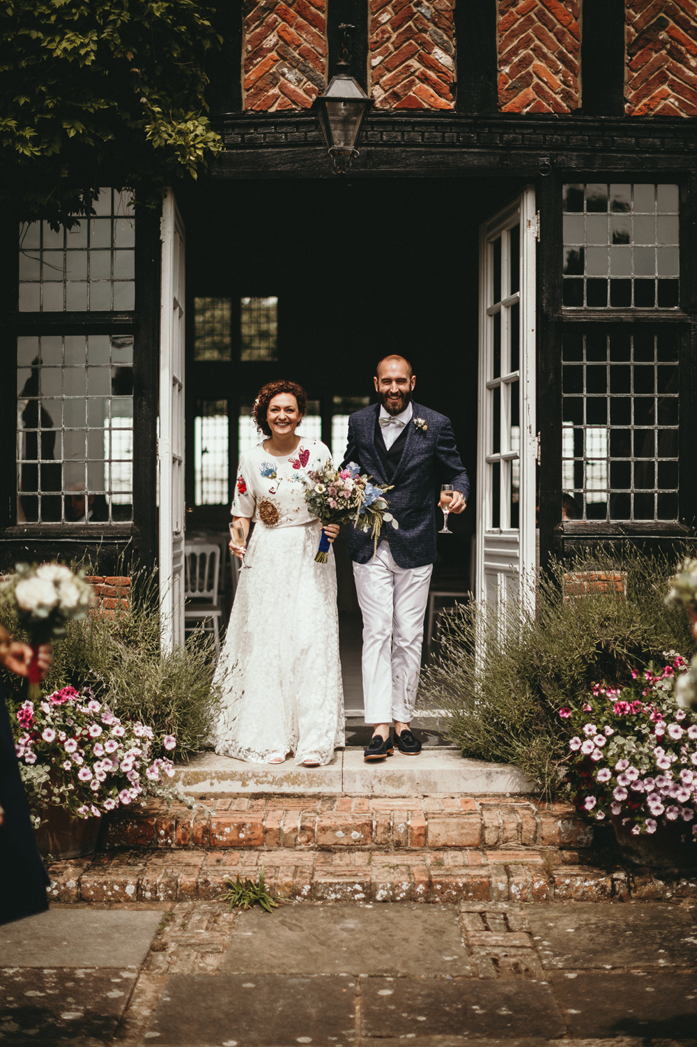Sarah and Rob on their wedding day at Butley Priory