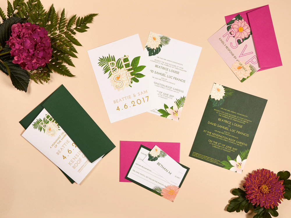 Beattie and Sam's bespoke wedding invitations