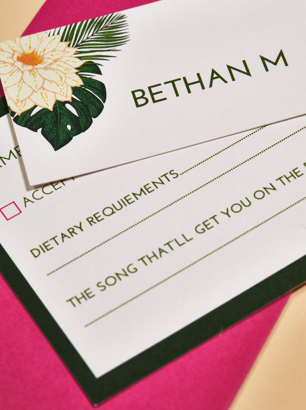 Beattie and Sam's bespoke wedding stationery