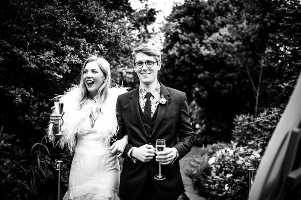 Beattie and Sam on their wedding day