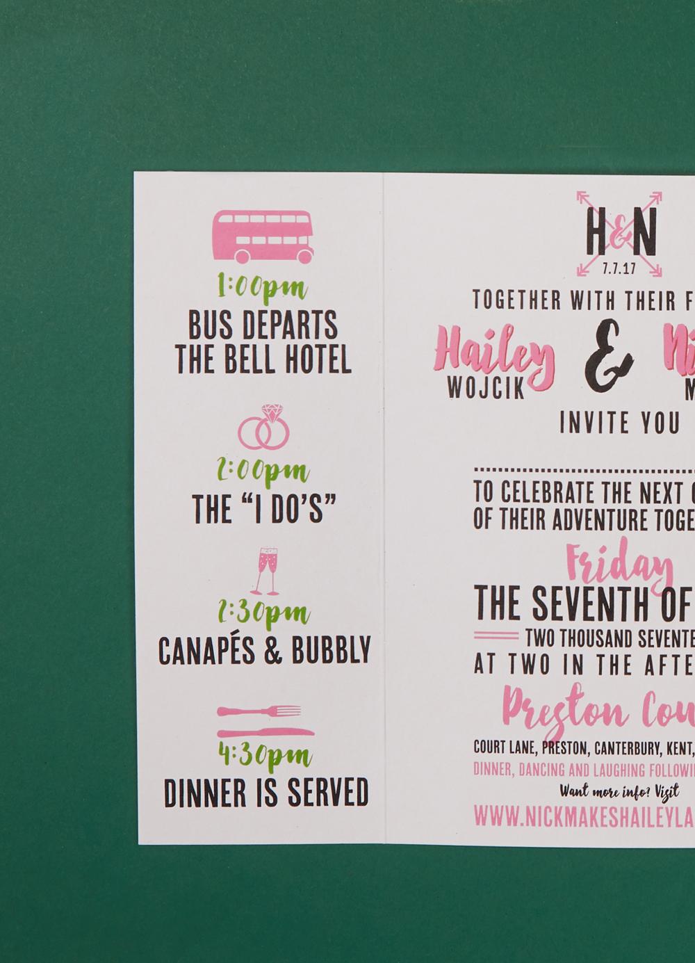 Hailey and Nick's bespoke wedding invitations