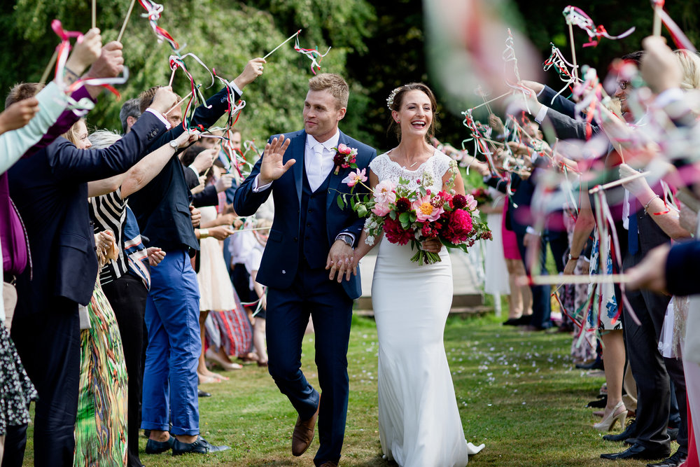 Hailey and Nick on their wedding day at Preston Court