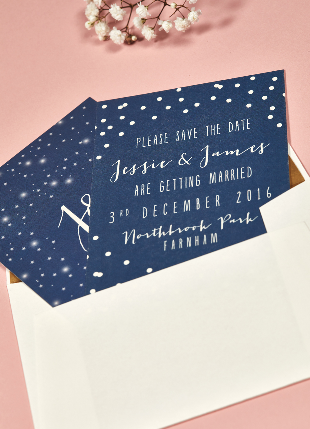 Jessie and James' bespoke Save the Date