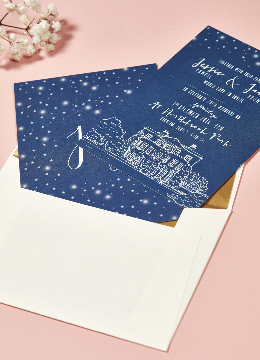 Jessie and James' bespoke wedding invitations