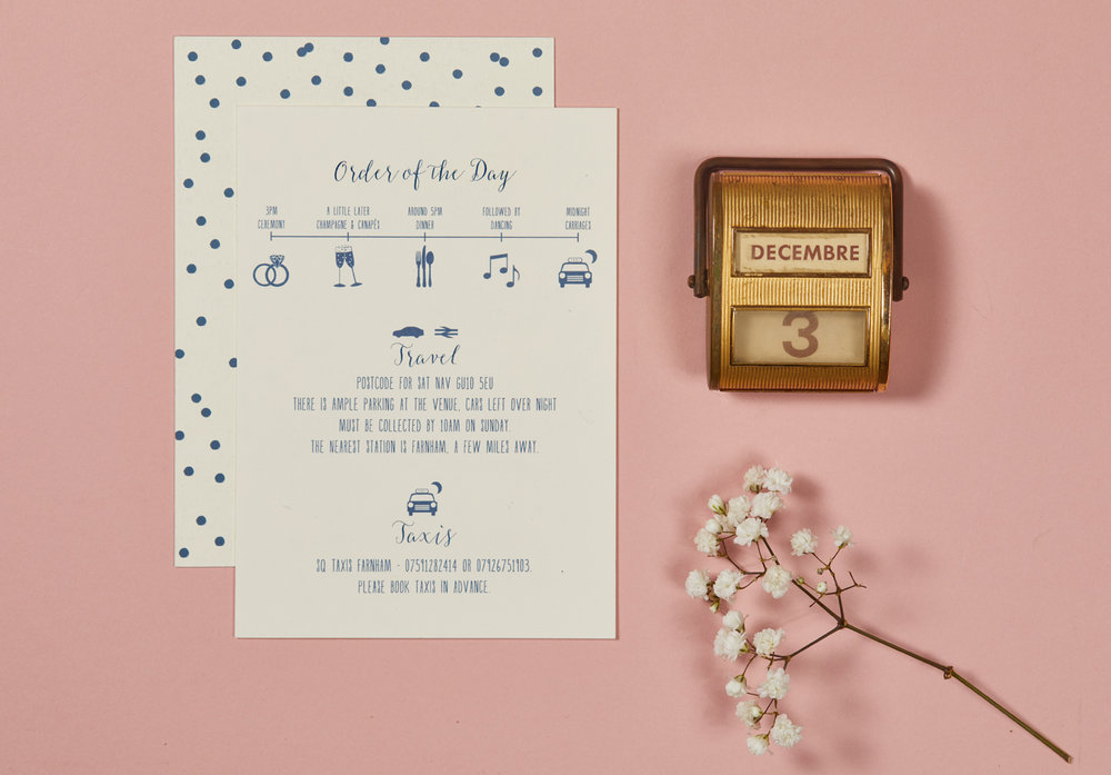Jessie and James' bespoke wedding stationery