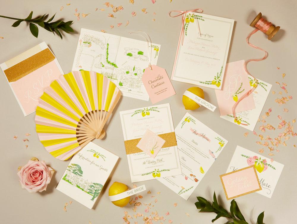 Pippa and John's bespoke wedding stationery