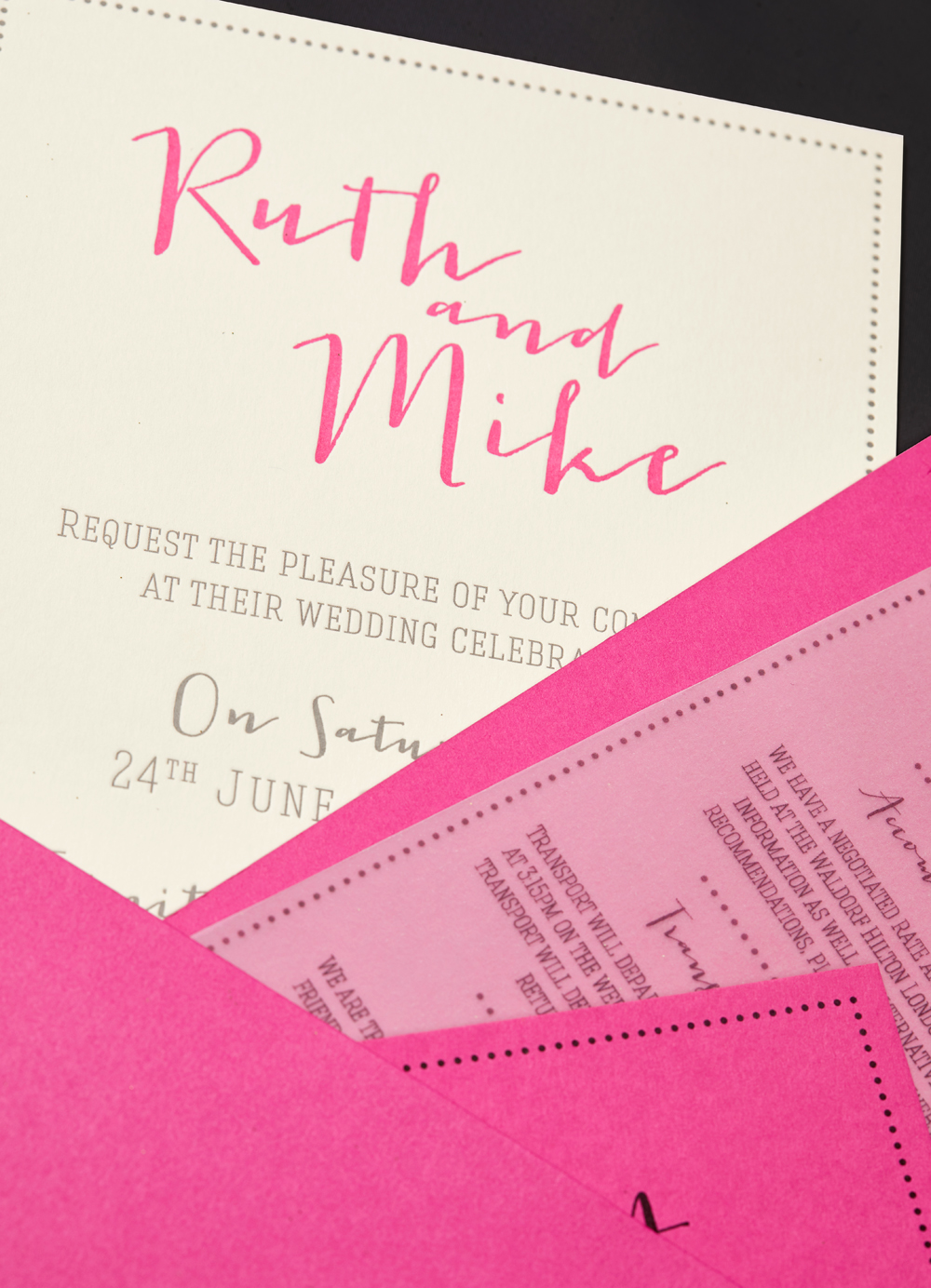 Ruth and Mike's bespoke wedding stationery