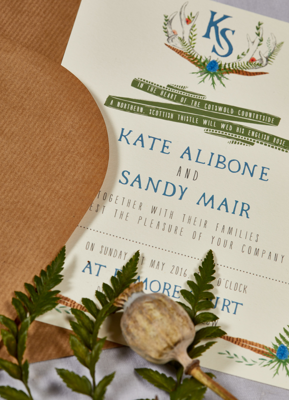 Kate and Sandy's bespoke wedding invitation