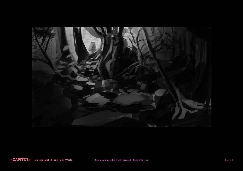 Fairy World: black-and-white study
