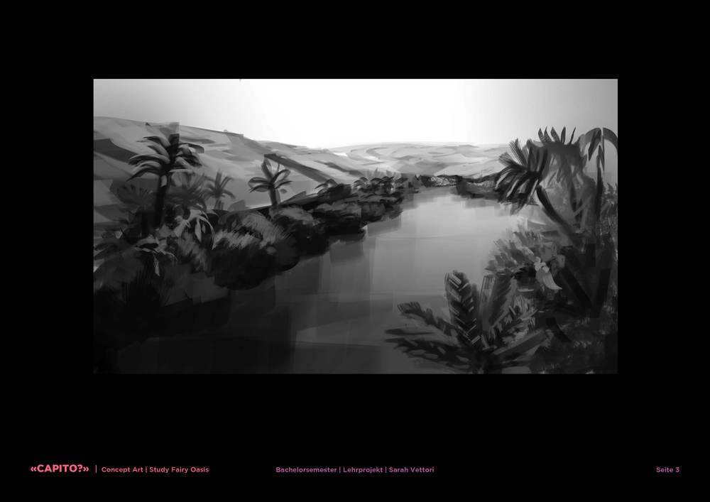 Imaginary Oasis: black-and-white study