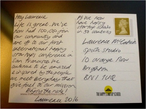 An example post card by Laurence, COFOUNDER OF THE HAPPY STARTUP SCHOOL