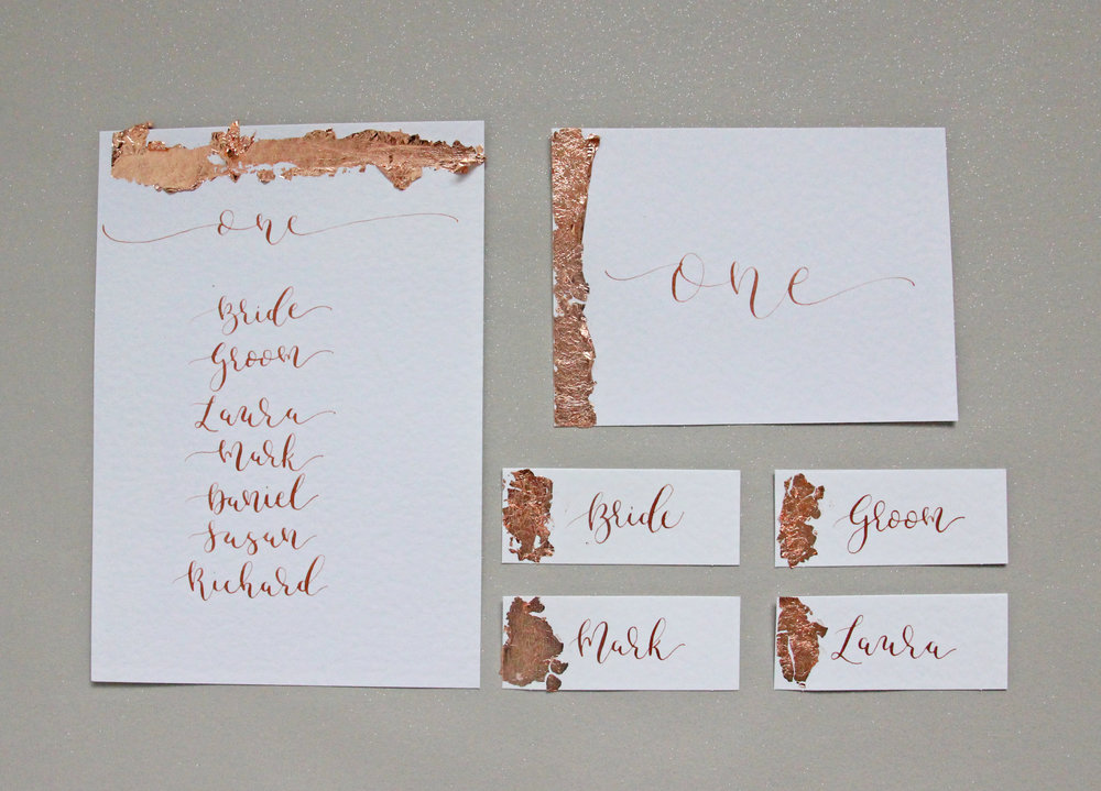 Gold Foil Modern Calligraphy Wedding Stationery Menu Table Numbers And Place Name Settings