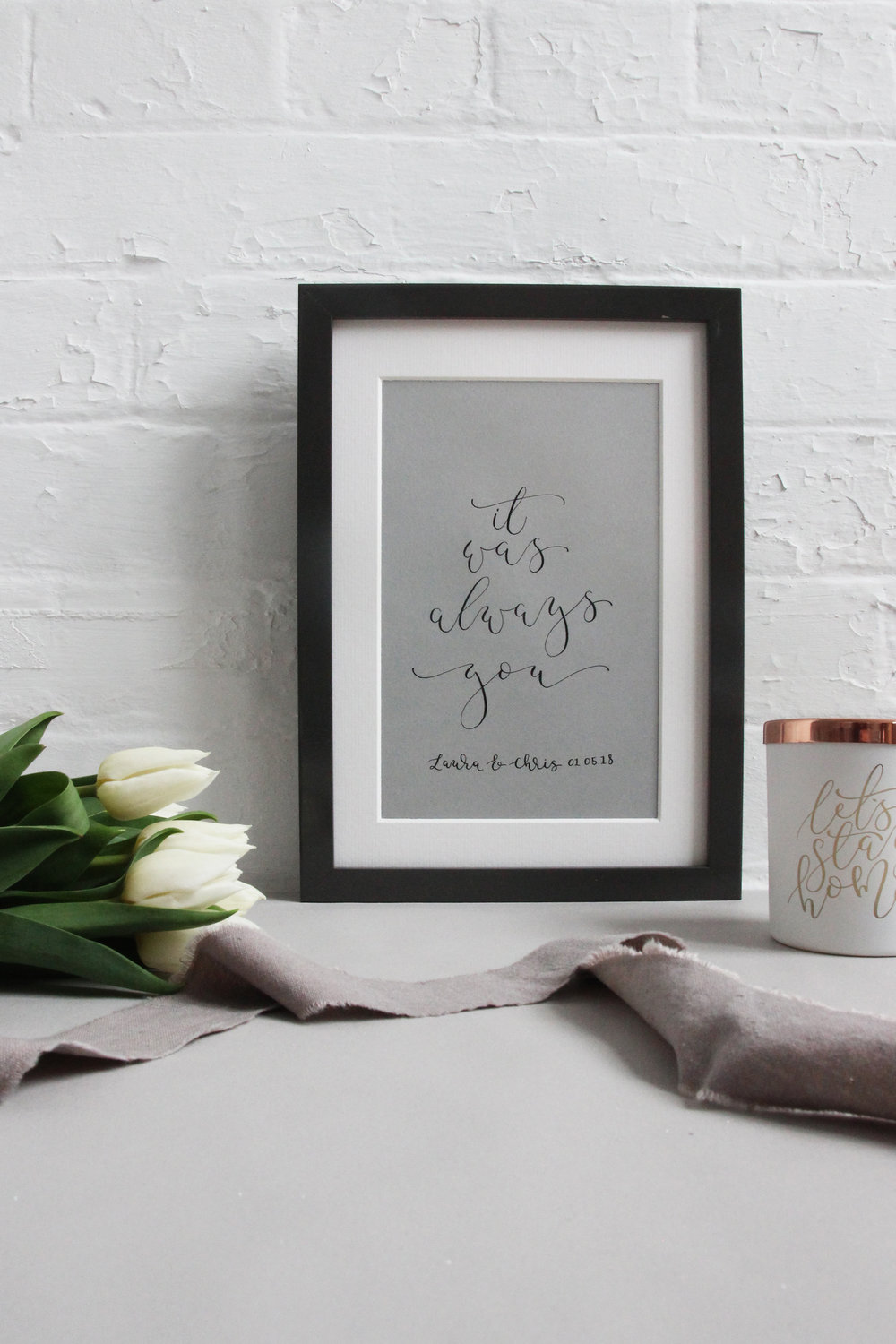Home and Interiors accessories, mugs, prints, calligraphy and candles