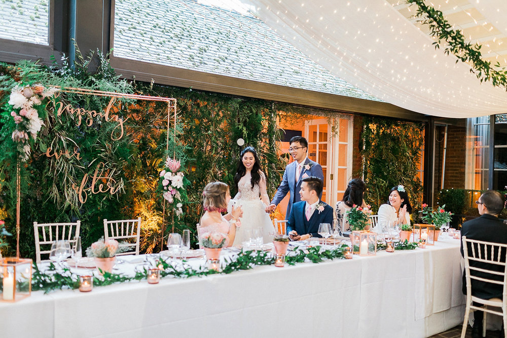 Wedding breakfast backdrops and styling