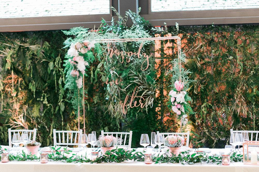Wedding signage rose gold