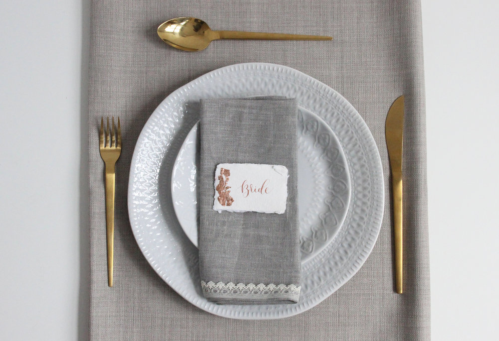 gold foil place setting