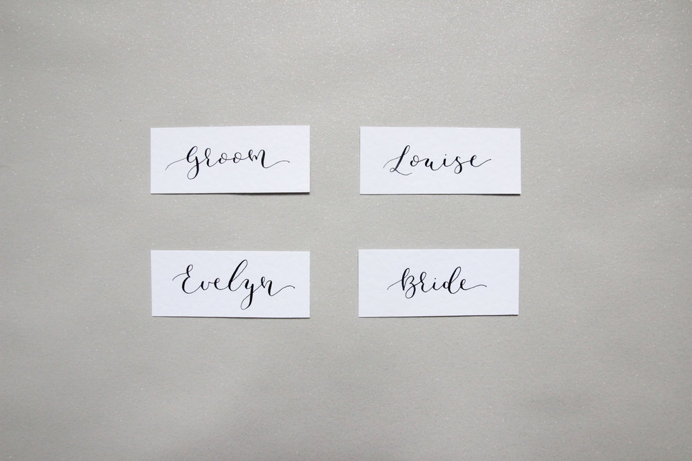 modern calligraphy place settings