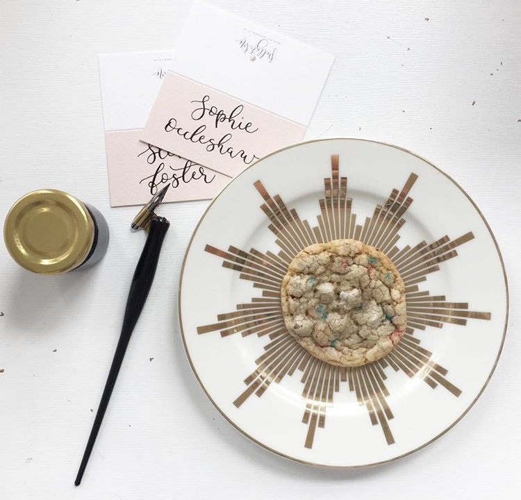 hand illustrated modern calligraphy place setting