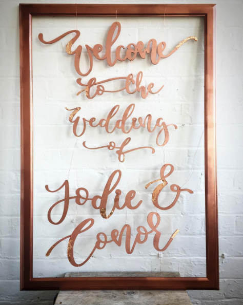 unique modern calligraphy wedding signage