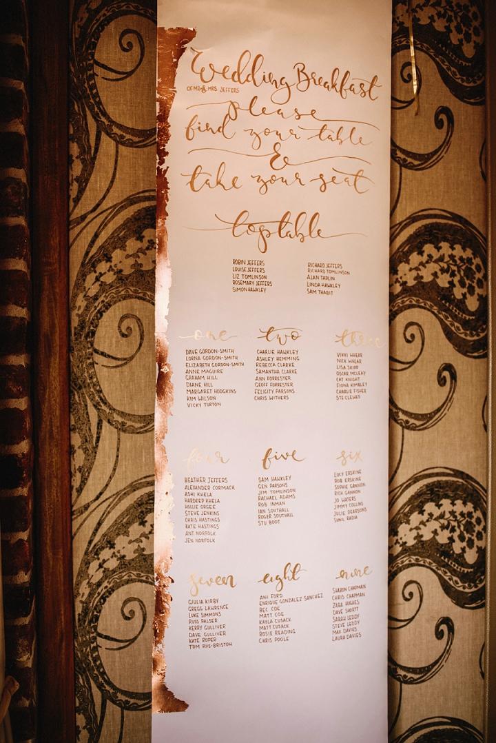 modern calligraphy for an elegant uk wedding